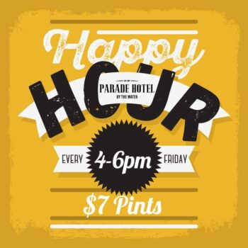 Wash the weeks worries away with $7 pints on our Friday Happy Hours from 4- 6pm,