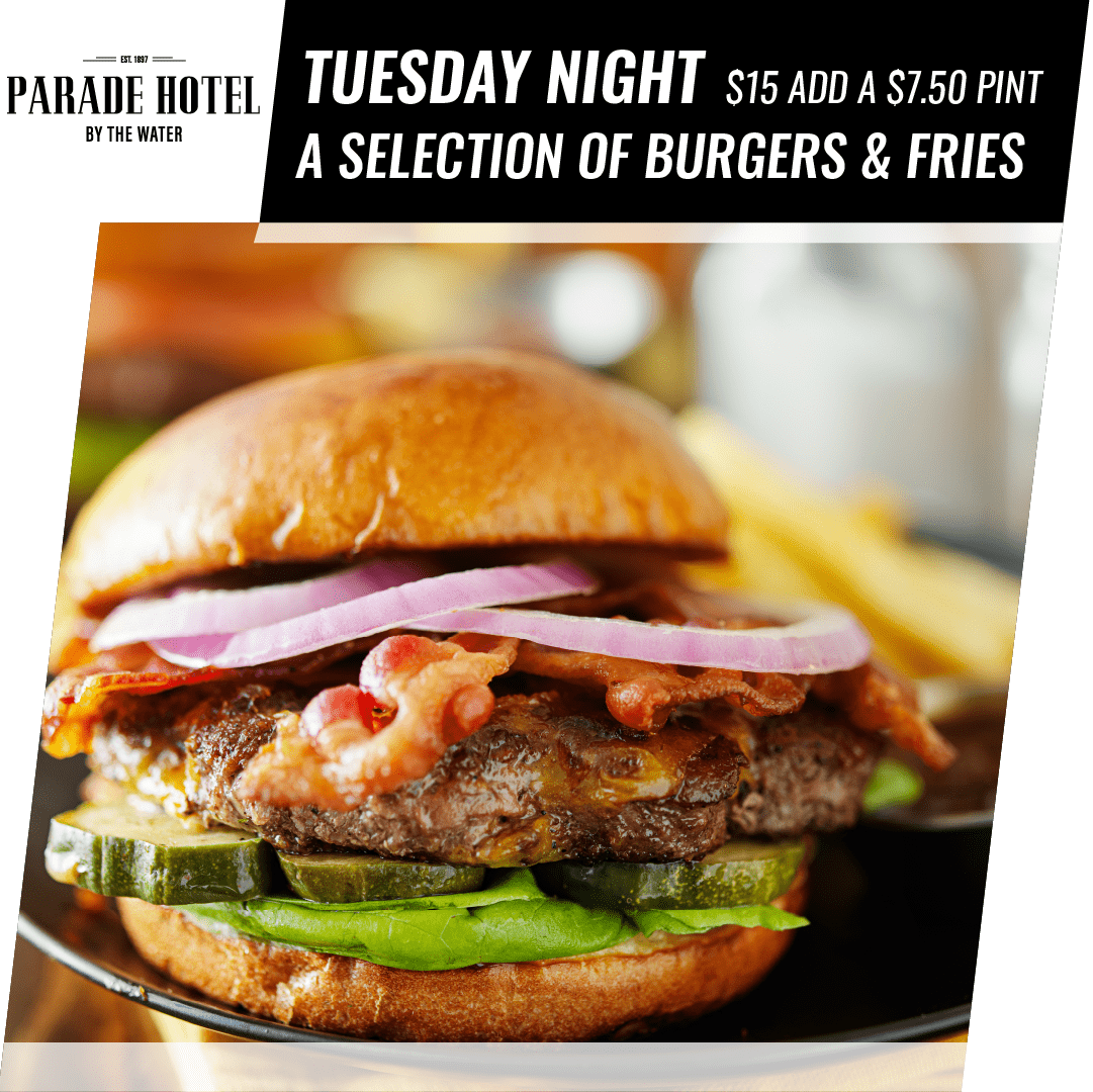 Tuesday night is our Burger night. A selection of burgers only $15.